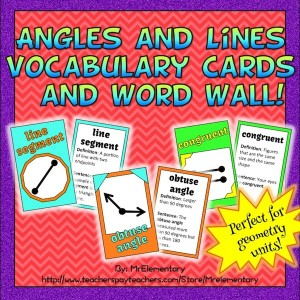 Angles and Lines Vocabulary Trading Cards and Word Wall