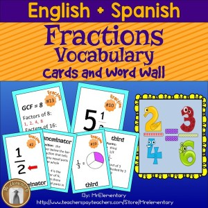 Fractions Trading Cards and Word Wall
