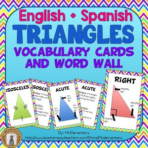 Triangle Vocabulary Trading Cards and Word Wall