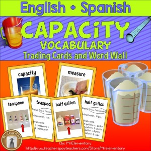 Capacity Vocabulary Trading Cards and Word Wall