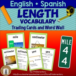 Length Vocabulary Trading Cards and Word Wall