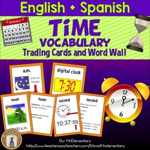 Time Vocabulary Trading Cards and Word Wall